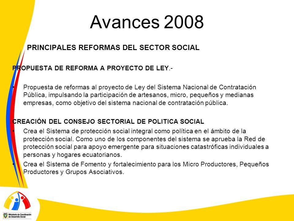 Avances 2008 PRINCIPALES REFORMAS DEL SECTOR SOCIAL