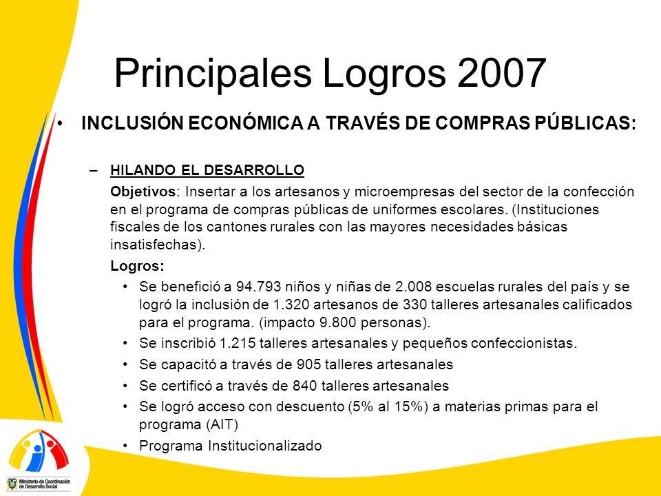 Principales Logros 2007 INCLUSIÓN ECONÓMICA A TRAVÉS DE COMPRAS PÚBLICAS: HILANDO EL DESARROLLO.