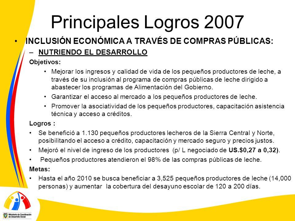Principales Logros 2007 INCLUSIÓN ECONÓMICA A TRAVÉS DE COMPRAS PÚBLICAS: NUTRIENDO EL DESARROLLO.