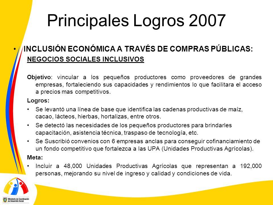 Principales Logros 2007 INCLUSIÓN ECONÓMICA A TRAVÉS DE COMPRAS PÚBLICAS: NEGOCIOS SOCIALES INCLUSIVOS.