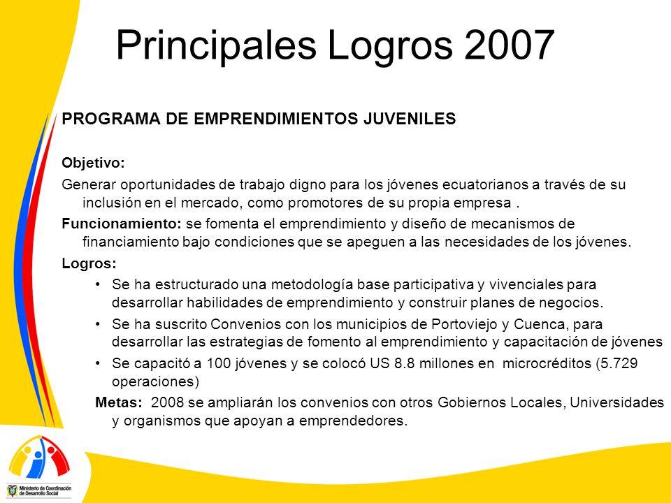 Principales Logros 2007 PROGRAMA DE EMPRENDIMIENTOS JUVENILES