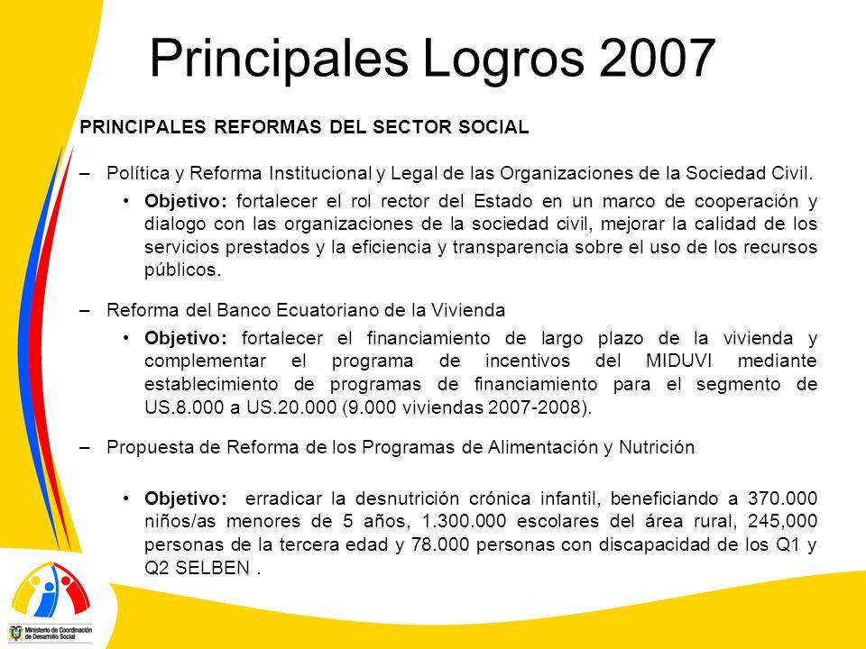 Principales Logros 2007 PRINCIPALES REFORMAS DEL SECTOR SOCIAL
