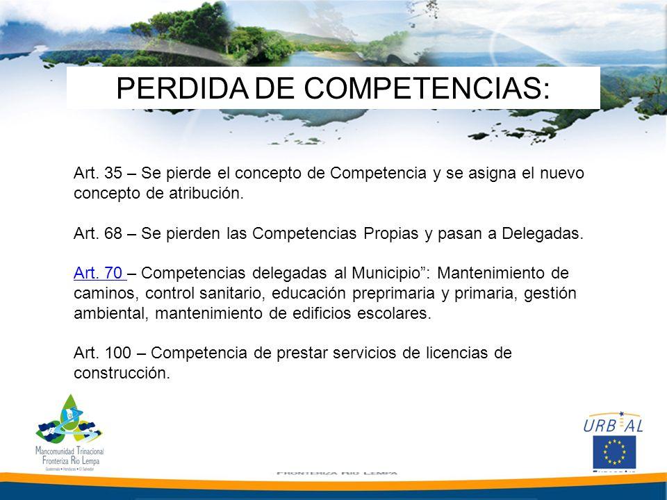 PERDIDA DE COMPETENCIAS: