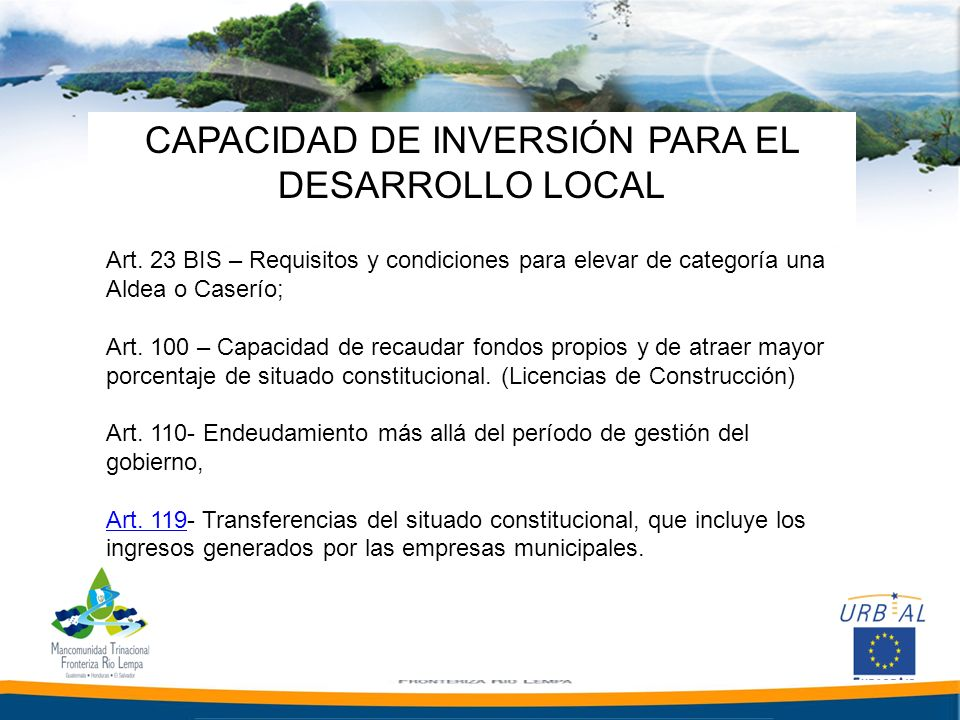 CAPACIDAD DE INVERSIÓN PARA EL DESARROLLO LOCAL