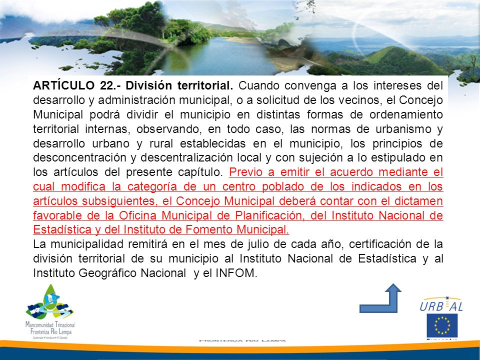 ARTÍCULO 22. - División territorial