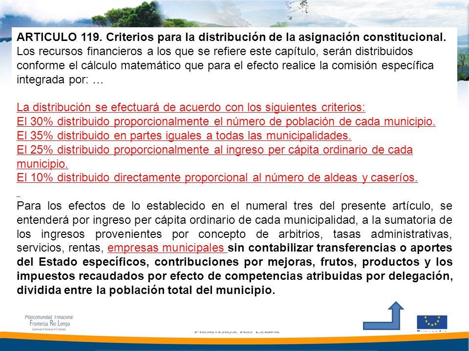 ARTICULO 119. Criterios para la distribución de la asignación constitucional.