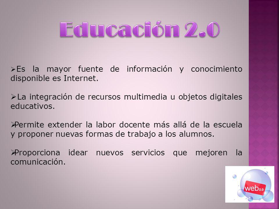 Educación 2.0 Es la mayor fuente de información y conocimiento disponible es Internet.