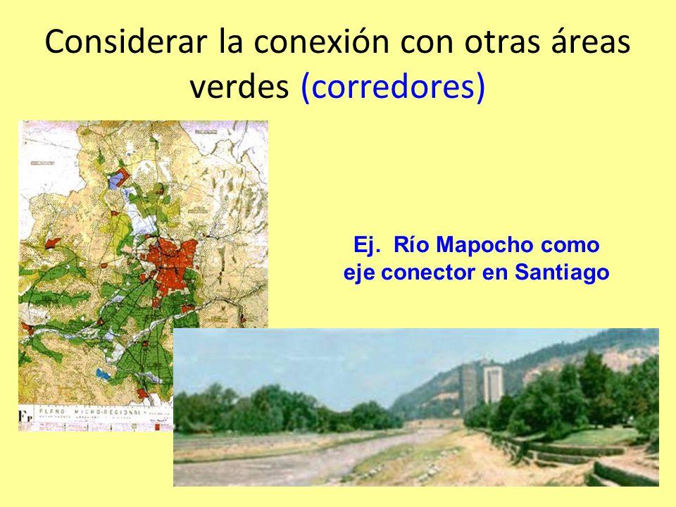 Considerar la conexión con otras áreas verdes (corredores)