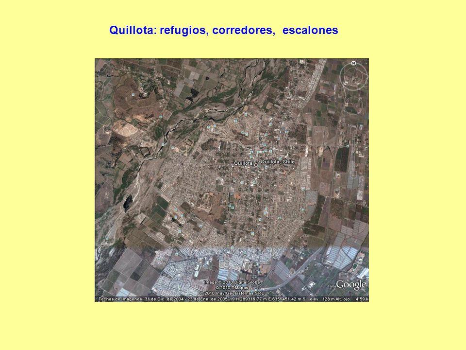 Quillota: refugios, corredores, escalones