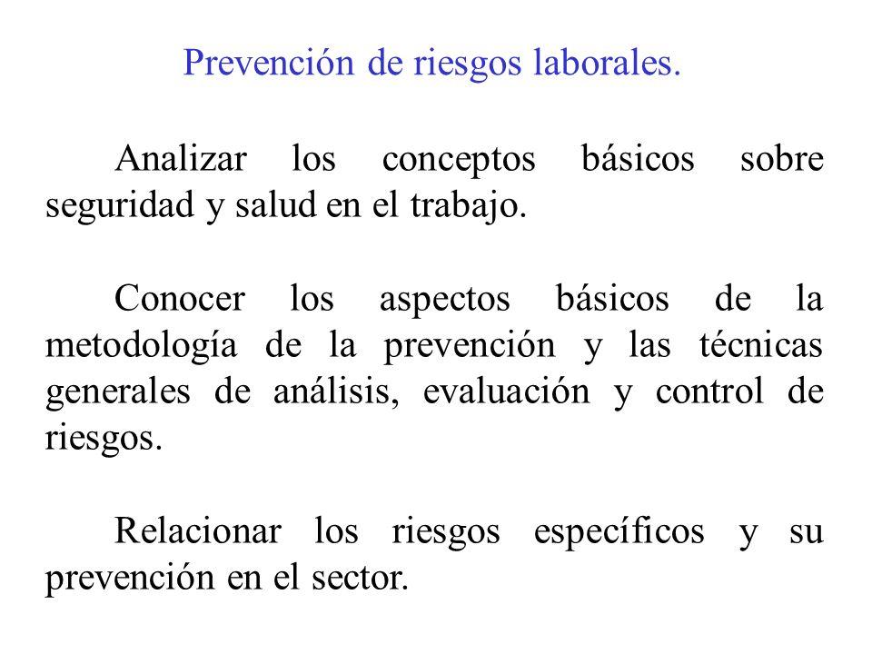 Prevención de riesgos laborales.