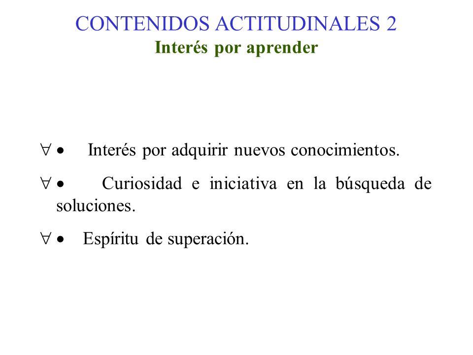 CONTENIDOS ACTITUDINALES 2 Interés por aprender