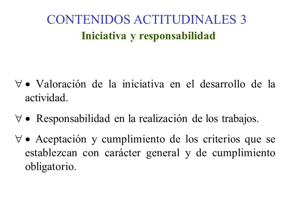 CONTENIDOS ACTITUDINALES 3 Iniciativa y responsabilidad