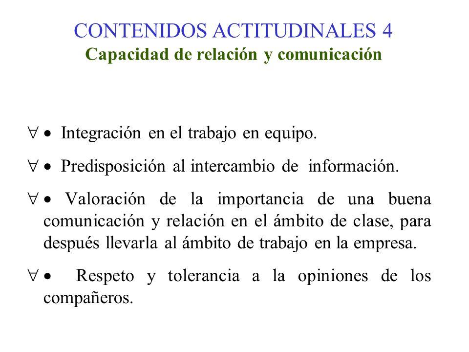 CONTENIDOS ACTITUDINALES 4 Capacidad de relación y comunicación