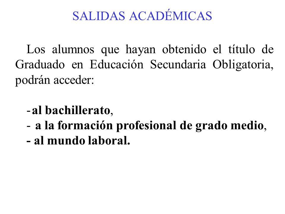 SALIDAS ACADÉMICAS Los alumnos que hayan obtenido el título de Graduado en Educación Secundaria Obligatoria, podrán acceder: