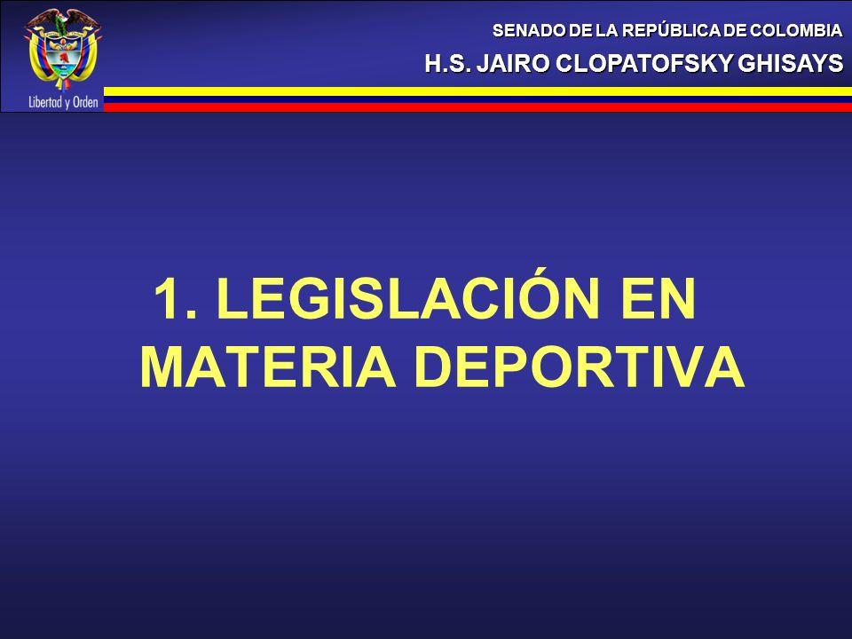 1. LEGISLACIÓN EN MATERIA DEPORTIVA