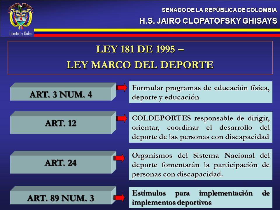 LEY 181 DE 1995 – LEY MARCO DEL DEPORTE