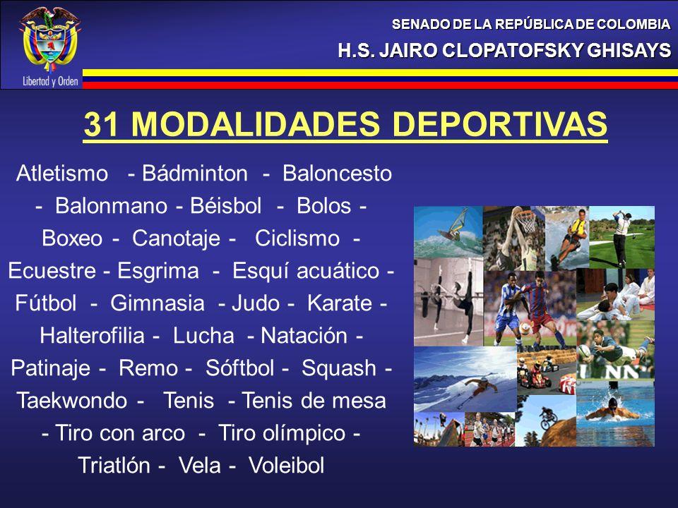 31 MODALIDADES DEPORTIVAS