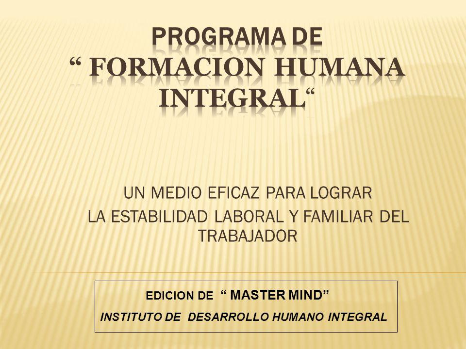 PROGRAMA DE FORMACION HUMANA INTEGRAL