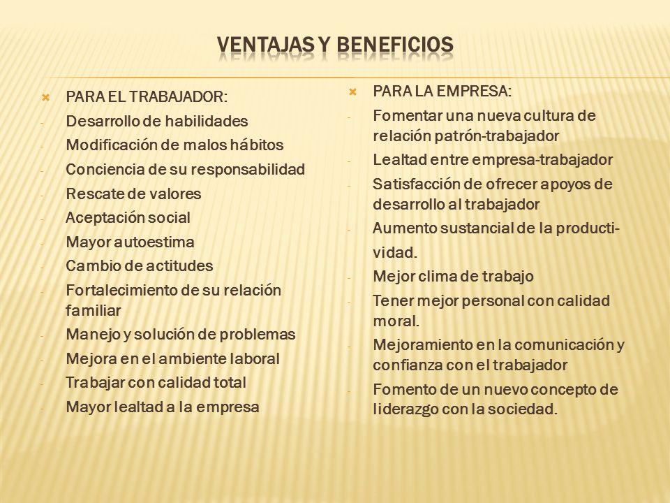 VENTAJAS Y BENEFICIOS PARA LA EMPRESA: PARA EL TRABAJADOR: