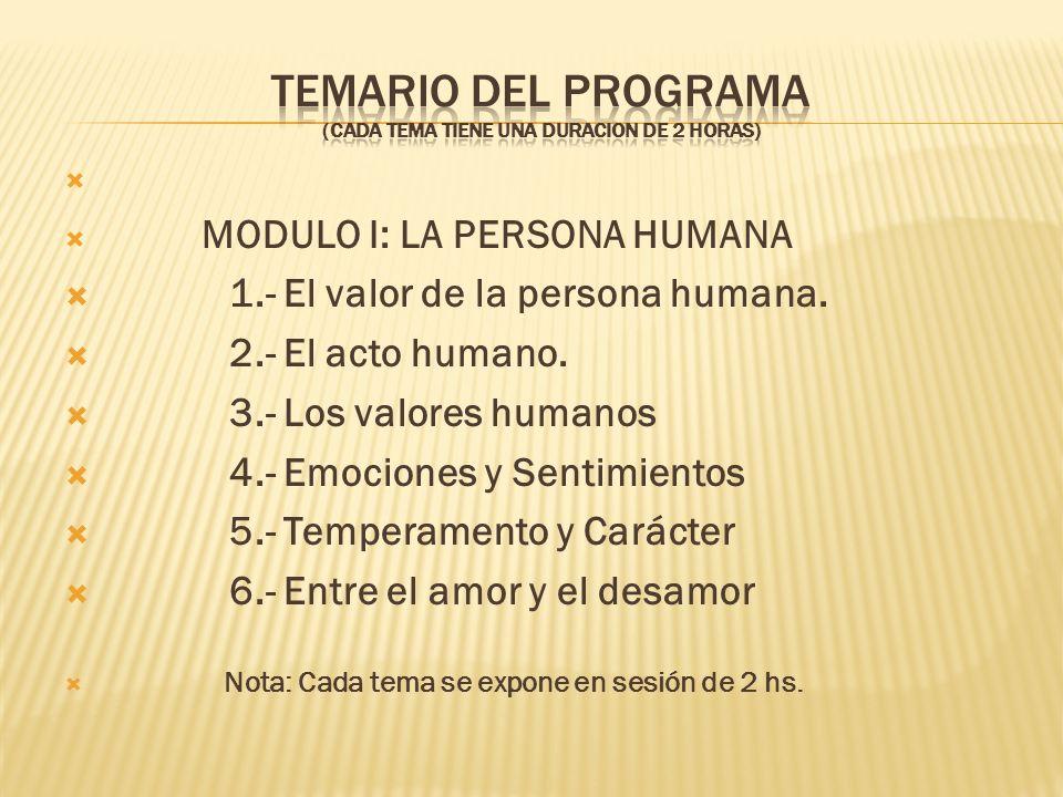 TEMARIO DEL PROGRAMA (CADA TEMA TIENE UNA DURACION DE 2 HORAS)