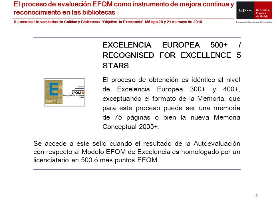 EXCELENCIA EUROPEA 500+ / RECOGNISED FOR EXCELLENCE 5 STARS