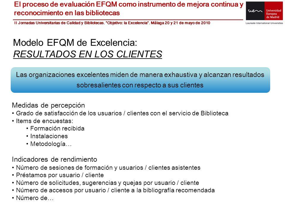 Modelo EFQM de Excelencia: RESULTADOS EN LOS CLIENTES