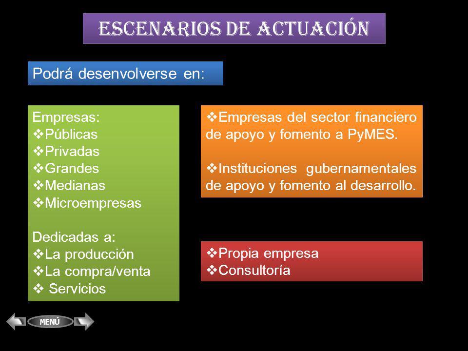 ESCENARIOS DE ACTUACIÓN