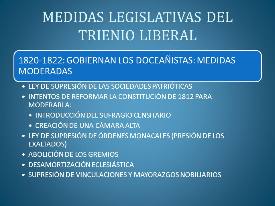 MEDIDAS LEGISLATIVAS DEL TRIENIO LIBERAL