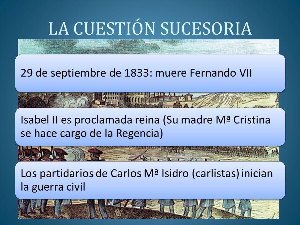 LA CUESTIÓN SUCESORIA 29 de septiembre de 1833: muere Fernando VII