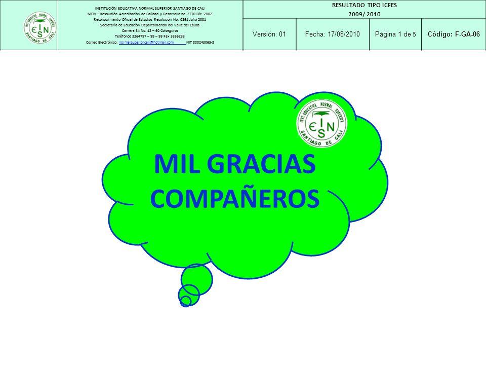 MIL GRACIAS COMPAÑEROS RESULTADO TIPO ICFES 2009/ 2010 Versión: 01