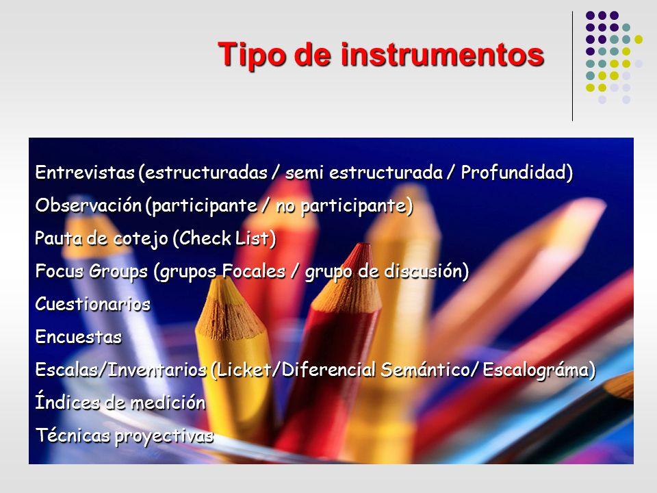 Tipo de instrumentos Entrevistas (estructuradas / semi estructurada / Profundidad) Observación (participante / no participante)