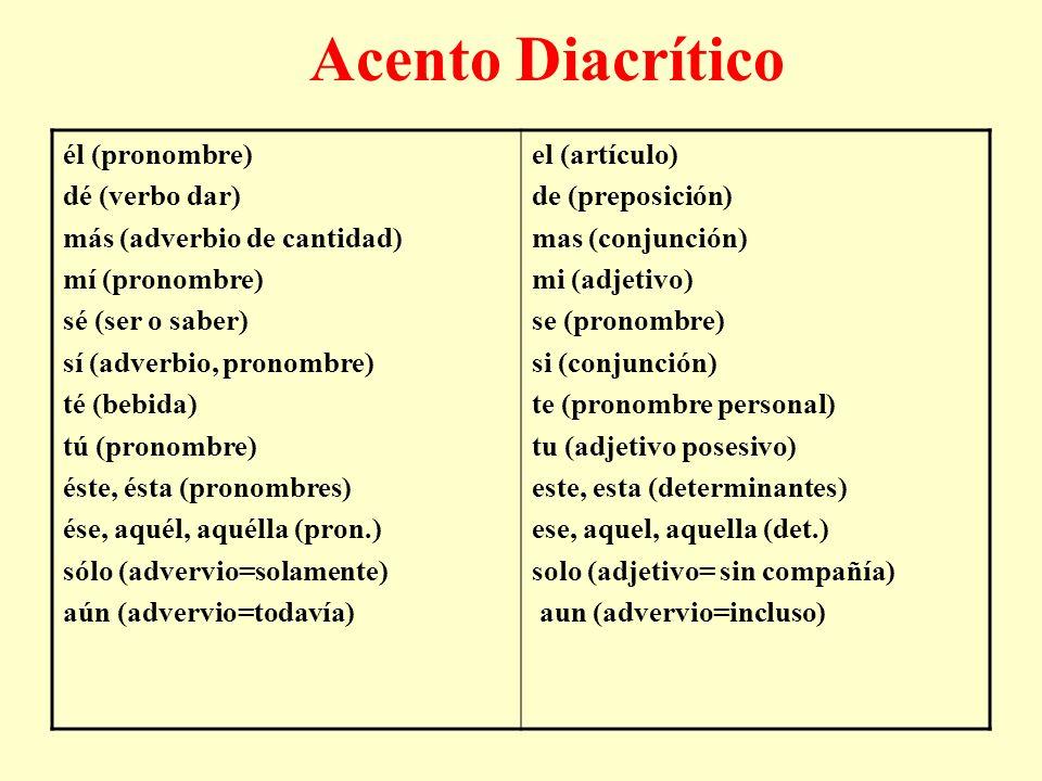 Acento Diacrítico él (pronombre) dé (verbo dar)