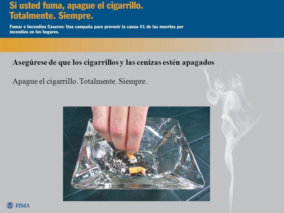 Asegúrese de que los cigarrillos y las cenizas estén apagados