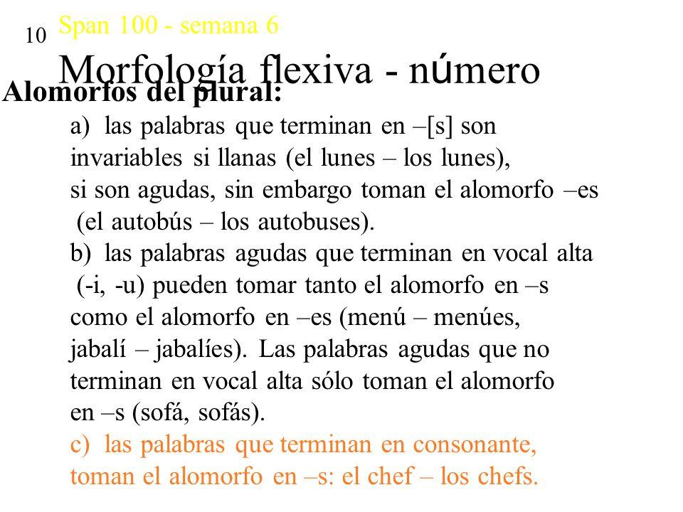 Span 100 - semana 6 Morfología flexiva - número