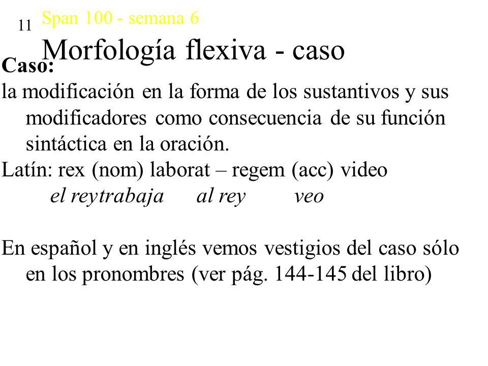 Span 100 - semana 6 Morfología flexiva - caso