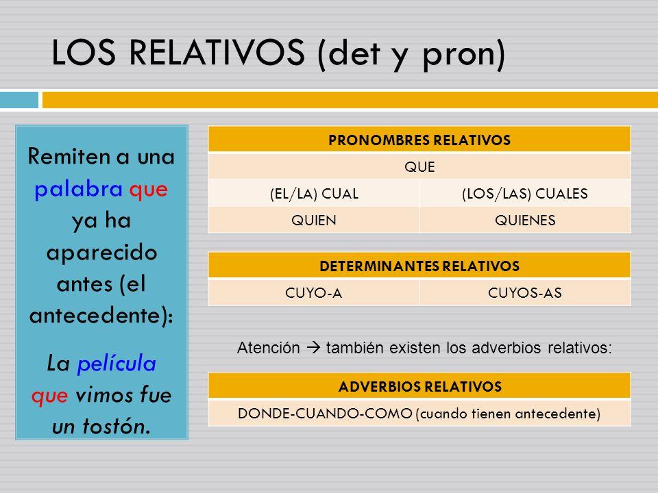 LOS RELATIVOS (det y pron)