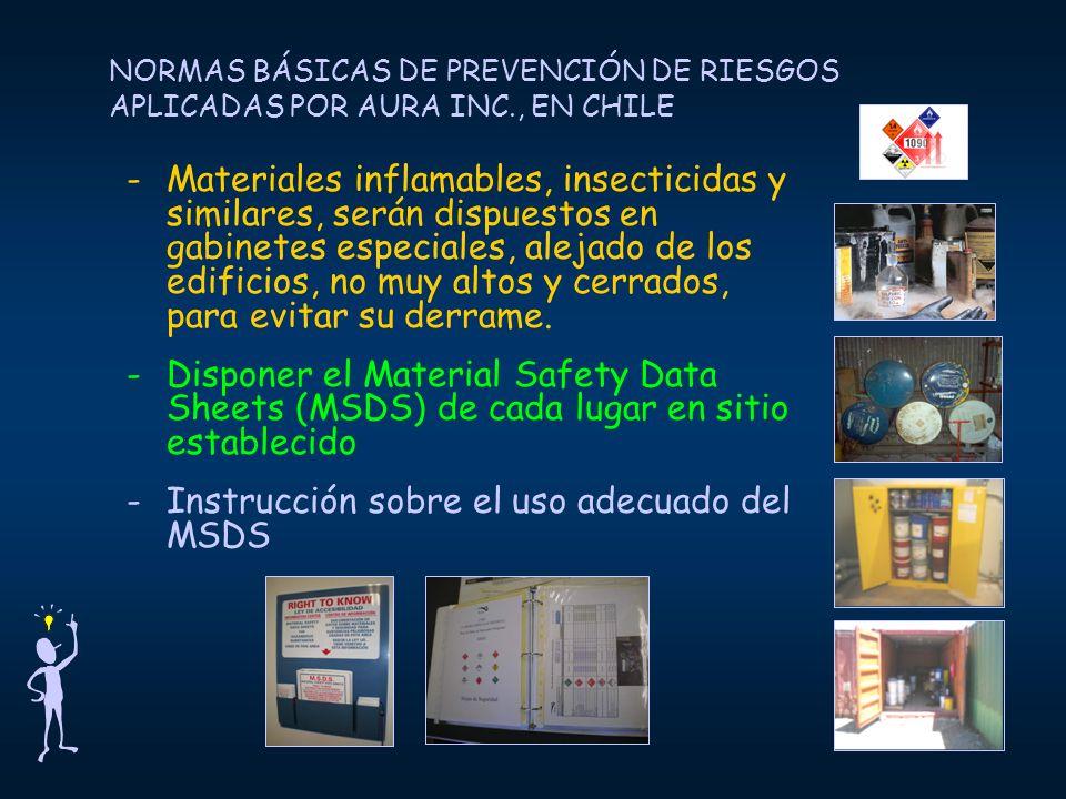 Instrucción sobre el uso adecuado del MSDS