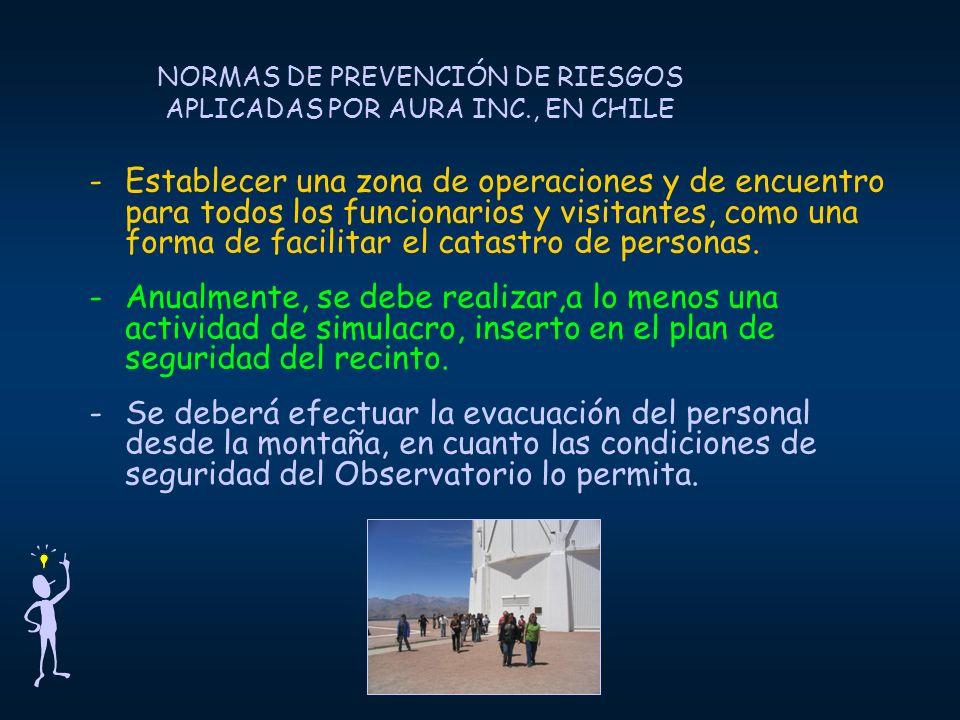 NORMAS DE PREVENCIÓN DE RIESGOS APLICADAS POR AURA INC., EN CHILE