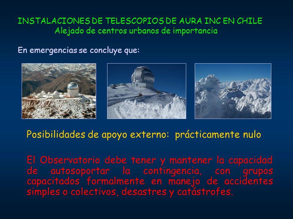 INSTALACIONES DE TELESCOPIOS DE AURA INC EN CHILE Alejado de centros urbanos de importancia En emergencias se concluye que: