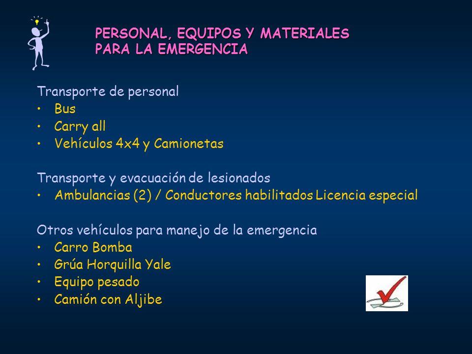 PERSONAL, EQUIPOS Y MATERIALES PARA LA EMERGENCIA