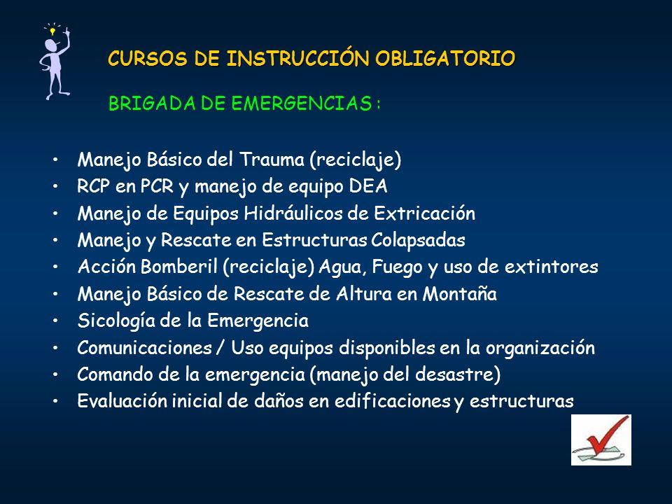 CURSOS DE INSTRUCCIÓN OBLIGATORIO BRIGADA DE EMERGENCIAS :