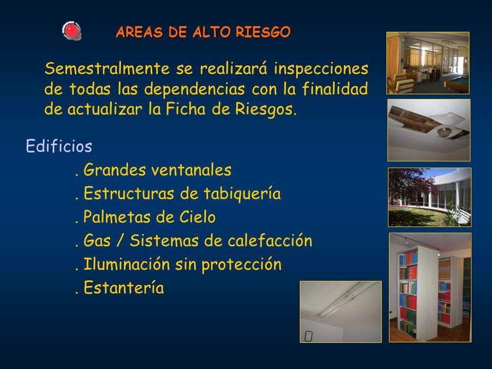 AREAS DE ALTO RIESGO Semestralmente se realizará inspecciones de todas las dependencias con la finalidad de actualizar la Ficha de Riesgos.