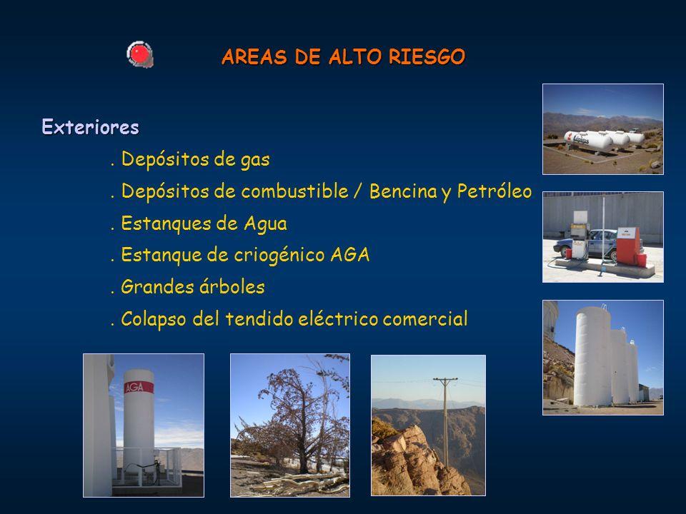 AREAS DE ALTO RIESGO Exteriores. . Depósitos de gas. . Depósitos de combustible / Bencina y Petróleo.
