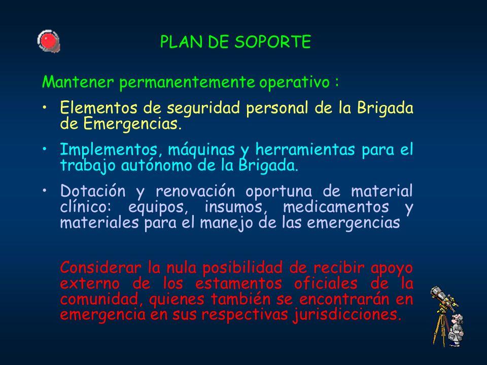 PLAN DE SOPORTE Mantener permanentemente operativo : Elementos de seguridad personal de la Brigada de Emergencias.