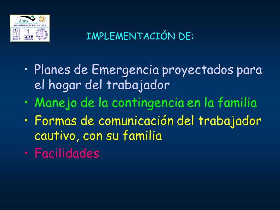 Planes de Emergencia proyectados para el hogar del trabajador