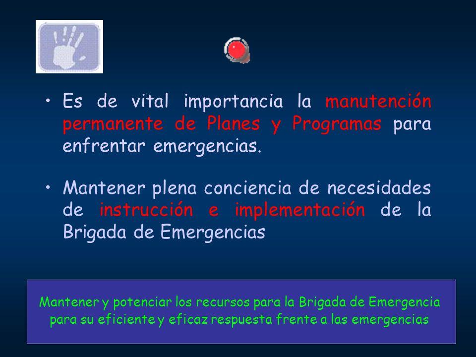 Es de vital importancia la manutención permanente de Planes y Programas para enfrentar emergencias.