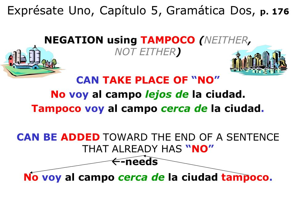 Exprésate Uno, Capítulo 5, Gramática Dos, p. 176