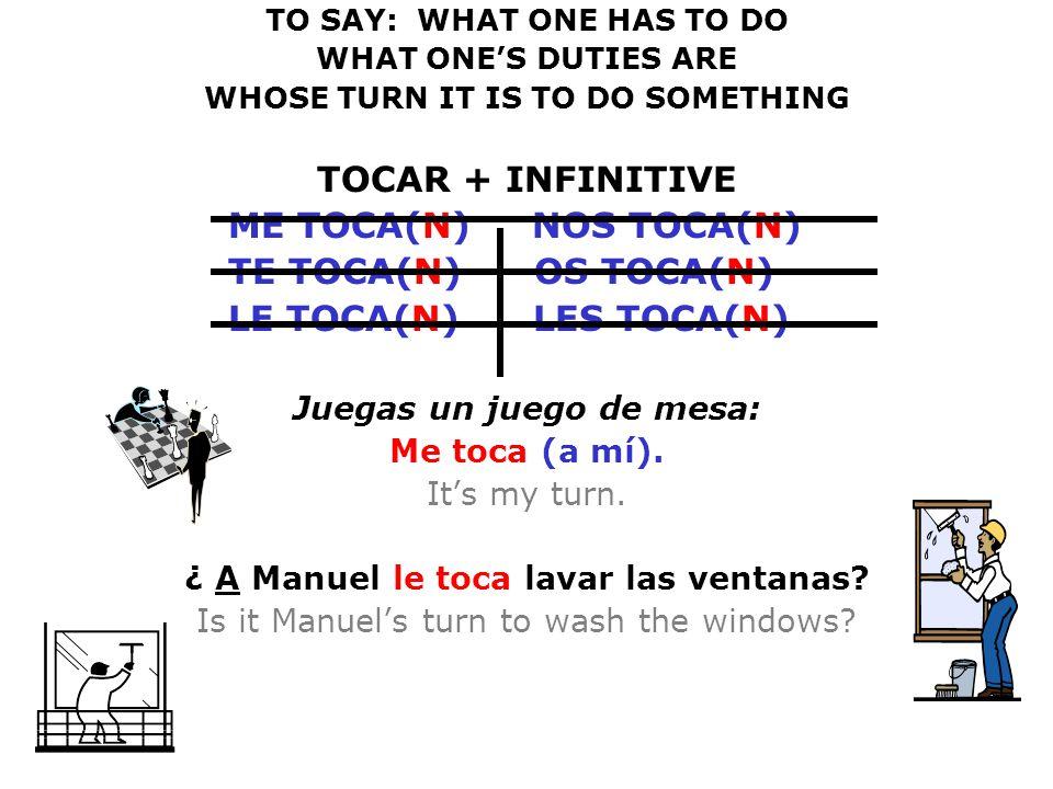 TOCAR + INFINITIVE ME TOCA(N) NOS TOCA(N) TE TOCA(N) OS TOCA(N)