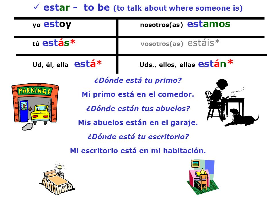 estar - to be (to talk about where someone is)