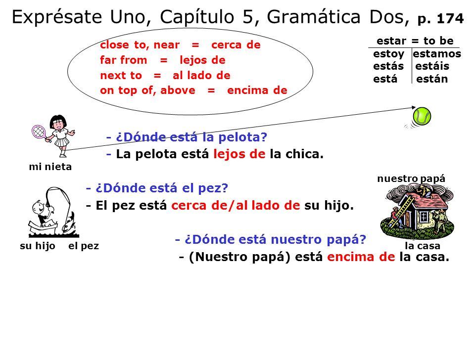 Exprésate Uno, Capítulo 5, Gramática Dos, p. 174